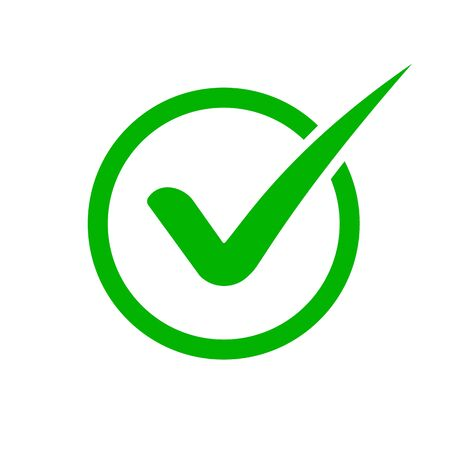 Green check mark icon. Checkmark in circle for checklist. Tick icon green colored in flat style.vector eps10 Illustration