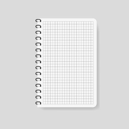 Realistic checked notebook in mockup style. Blank notepad with spiral. Template of empty notepad on isolated background.Note with spiral.