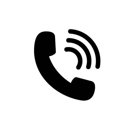 Phone call icon.Black mobile telephone icon in flat style.Phone cell symbol for web on isolated background. vector illustration