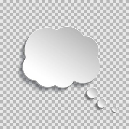 Bubble of think on transparent background. Cloud message for text, comic. Fun speech bubble on isolated background. White cloud of think. vector eps10 Standard-Bild - 132981938
