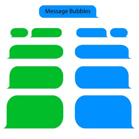 Message bubble chat for text, sms. Chat messenger at bubble form in flat style. Blank message for text for web, phone with green and blue color. vector eps10 Standard-Bild - 132982097