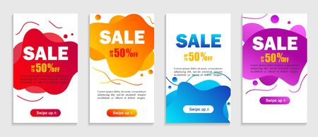 Set of dynamic abstarct geometric liquid shapes.Colorful sale banner template. Modern design covers of sale on grey background for website, presentations or mobille apps. vector eps10