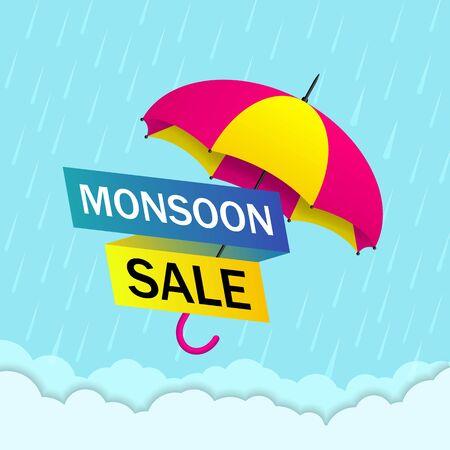 Monsoon sale offer background with rain and umbrella. Monsoon season sale concept for poster, flyer, website. Umbrella with rainy season for special offer for web, banner. vector eps10 Ilustração Vetorial