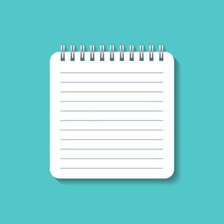 Spiral-Notizbuch im Mockup-Stil. Vektor-Notizblock für die Schule. Weißes Tagebuch-Notizbuch auf blauem Hintergrund. Vektorillustration eps10 Vektorgrafik