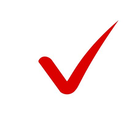 Red tick or checkmark icon. Check mark icon in flat style on isolated background. Cartoon tick checkmark icon. vector illustration  イラスト・ベクター素材