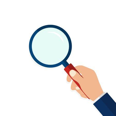 Szkło powiększające w ręku w płaski. Ikona ręki trzymającej szkło powiększające na na białym tle. Płaski obiektyw lub lupa. ilustracja wektorowa Ilustracje wektorowe