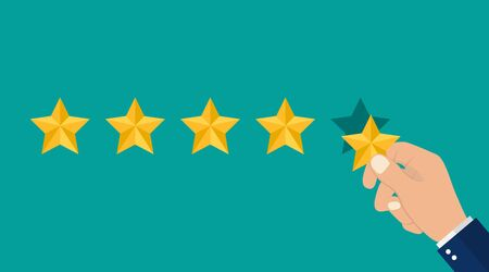 Hand puts 5 stars of rating. Reviews five stars in flat style. 5 stars in top icon. vector illustration
