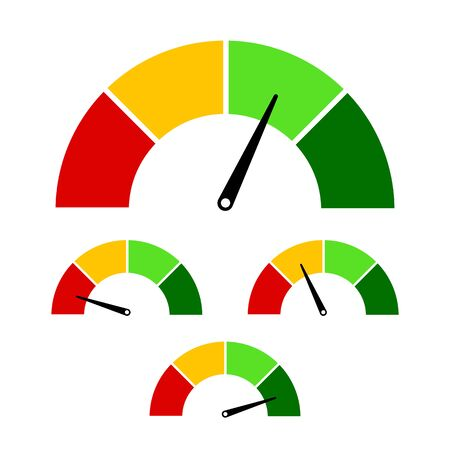 Meter sign. Speedometer icon for infographics design. Colorful meter scale concept. Different rate scale from red to green. Concept of tachometer, indicators, score. vector eps10