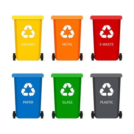 Cestino della spazzatura con l'icona di riciclo per i rifiuti. Pattumiera contenitore per carta, plastica, vetro, organico, rifiuti elettronici in stile piatto. Set di contenitori per immondizia. illustrazione vettoriale