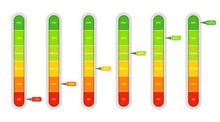 Bar of meter with progress level from red to green. Measure ruler diagram of rating.Verticalscale speedometer with low and high level. Concept graphic slider infographic. vector eps10  イラスト・ベクター素材