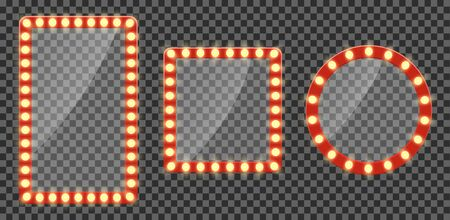 Makeup mirror or neon billboards with light. Empty signage frame with light bulb for circus, cinema, comic frame. Set of mirror with bulb in retro style. Glowing signboard for winner. vector 일러스트