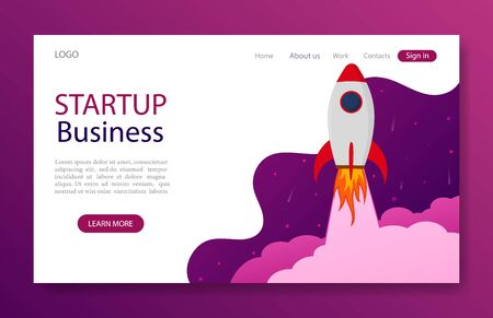 Website landing page with startup rocket concept for marketing, business, mobile app. Launch rocket idea for start up business. Template web page with launch space shuttle.vector illustration
