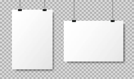 Realistic white blank paper format A4 in mockup style.Empty blank paper sheets hanging on binder clips. Poster hanging on a rope with clips on transparent background. vector illustration