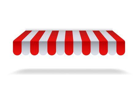 Parasol rojo y blanco para mercado o tienda. Toldo abierto con lona a rayas para circo o tienda. Marquesina roja para café sobre fondo aislado. ilustración vectorial