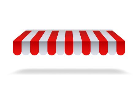 Red and white sunshade for marketplace or shop. Open awning with striped canvas for circus or store.Red canopy for cafe on isolated background. vector illustration