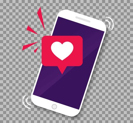 Smartphone screen with get message of heart emoji speech bubble.Phone app with icon like. Mobile call with love heart on transparenr background. vector illlustration Ilustrace