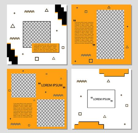 Design square banner template for social media. Editable yellow frame layout brochure template. Suitable banner for social media post, stories, web internet ads. vector eps10