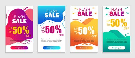 Abstract background with geometric liquid shapes. Flash sale banner with wavy shapes for social media, web, mobile apps. Set of special offer sale. Dynamic modern design fluid cover. vector
