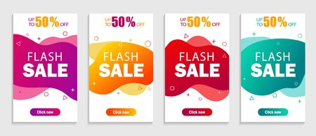 Set of sale abstract banners with modern fluid wave for mobile app. Template of special offer and discount banner sale up to 50. Dynamic modern design fluid cover. vector illustration