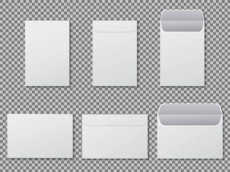 Maqueta de sobre a4. Plantilla de carta de papel, carpeta. Sobres de carta blancos estándar en blanco tamaño a4. Maqueta de carta de sobre vertical y horizontal abierta para oficina, correo. vector eps10
