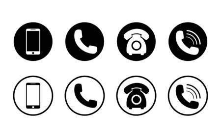 Mobile phone icon on isolated background.Set of call icon and telephone, smart in flat style for web. Phone symbol pack. vector eps10 Иллюстрация