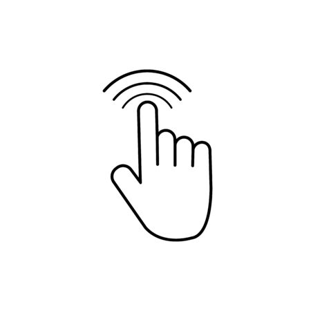 Tap click icon. Hand finger touch screen or mouse. Push button click. push fingers to cursor on mobile screen. vector eps10