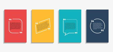 Banner with quote bubble, citation opinion. Speech quotation in circle frame. Design textbox in brackets on colorful background. Citation tag set cover. vector illustration Reklamní fotografie - 133079002