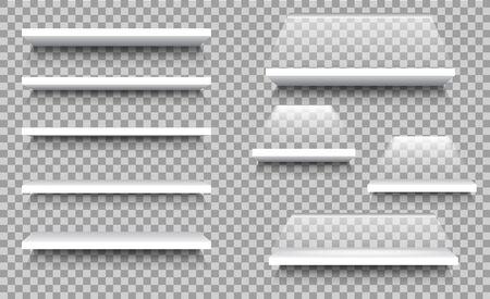 Étagère vide pour stand pour magasin, merchandising publicitaire. Affichage de vitrine vierge blanche 3D dans un style maquette pour l'intérieur de la maison. Bibliothèque, rack de magasin sur fond isolé. Étagères en bois. vecteur Vecteurs
