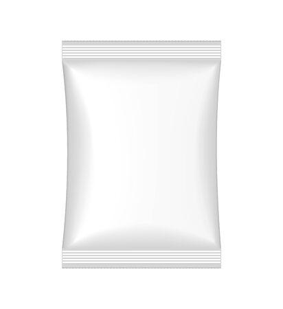 Design-Beutel für die Werbung für Snacks, Lebensmittel, Süßigkeiten, Kekse, Schokolade, Chips, medizinische Dinge im Mockup-Stil. Sauberes Paket laminieren. Papierkasten 3d auf lokalisiertem Hintergrund. Vektor-eps10