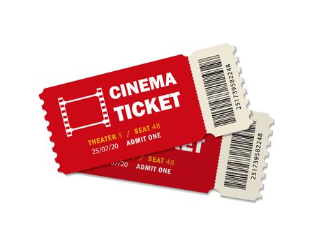 Two ticket of cinema for movie. Template red VIP entry pass tickets for theater, festival, cinema on isolated background. Pass ticket on film. 3d paper coupon icon.