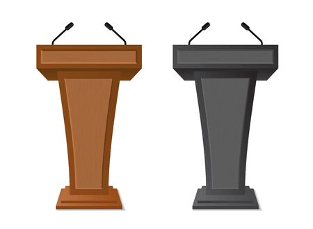 Podium rostrum with microphone for debate, speech, press conference, dispute, audience. Podium tribune with empty place for speaker, lecture.Isolated stage stand for debate