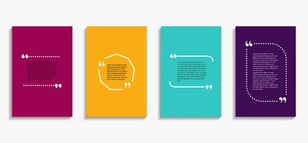Banner with quote bubble, citation opinion. Speech quotation in circle frame. Design textbox in brackets on colorful background. Citation tag set cover. vector illustration Ilustrace