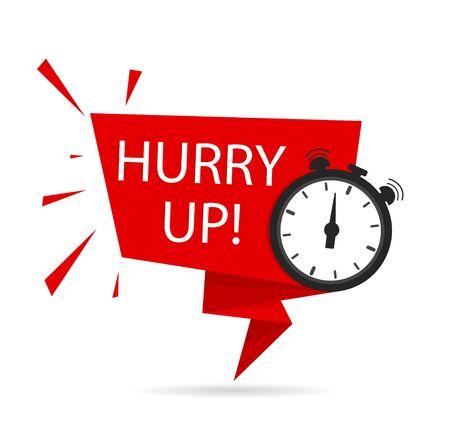 Beeilen Sie sich Symbol für Werbung, Sonderangebot, Rabatt, Angebot, mit Uhr. Countdown-Banner, Tag mit Eile-up-Text, Uhr zum Verkauf.Last-Minute-Angebotsstempel.Rotes Etikett, Band. Vektorgrafik