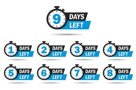 Cuenta regresiva 1, 2, 3, 4, 5, 6, 7, 8, 9, días restantes etiqueta o conjunto de emblemas. Icono de contador de día izquierdo con reloj para promoción de venta, oferta promocional. Insignia plana con número de cuenta atrás. vector aislado Ilustración de vector