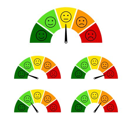 Customer satisfaction scale with smile, angry icon. Speedometer score feedback survey of client. Gauge emotion concept. Level measure emoji face with arrow from bad to good. Flat vector illustration