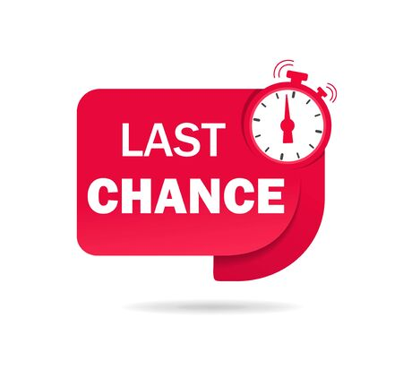 Red last chance tag with clock for promotion, banner, price. Label countdown of time for offer sale, special deal. Ribbon alarm clock with last chance. Badge counter time promo. vector isolated Vektoros illusztráció