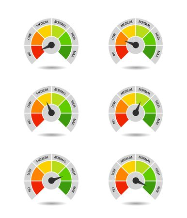 Bar of meter with progress level from red to green. Measure ruler diagram of rating. Scale speedometer with low and high level. Concept graphic slider infographic. Ilustrace
