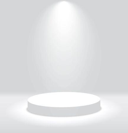 Podio redondo 3d blanco con luz y lámpara. Stand ganador con focos. Plataforma de pedestal vacía para premio. Podio, pedestal de escenario o plataforma iluminada por luz sobre fondo aislado. Ilustración de vector
