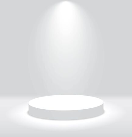 White 3d round podium with light and lamp. Winner stand with spotlights. Empty pedestal platform for award. Podium, stage pedestal or platform illuminated by light on isolated background.