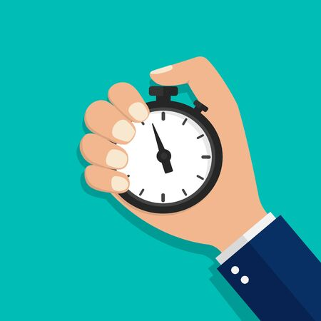Stopwatch, horloge of timer in de hand. Stop de tijd op competitie. Zakenman tijd controle concept. Cartoon platte klok voor startwerk, intervalcontrole, optimalisatiemaatregel. Aftellen van stopwatch. vector