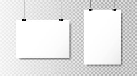 Realistic white blank paper format A4 in mockup style.Empty blank paper sheets hanging on binder clips. Poster hanging on a rope with clips on transparent background.