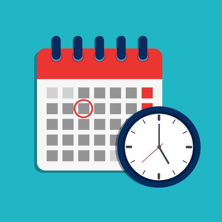 Calendar schedule and clock icon. Time appointment, reminder date concept. Flat organizer, timesheet, time management with alarm clock. Calendar and timer for business, shool, event, holiday. vector  イラスト・ベクター素材