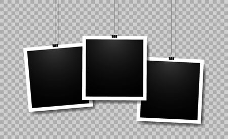 Blank photo frame set for photography. Picture frame hanging on paper clip in vintage style. Template memory photo album on wall. Set of instant snapshot mockup on isolated background. Stockfoto - 134468055