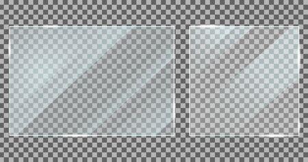 Vetro con effetto riflesso in stile mockup. Texture acrilica e vetro con riflessi. Cornice della finestra dello schermo digitale con effetto luci lucide. Schermo in plastica lucida, specchio realistico su trasparente. vettore