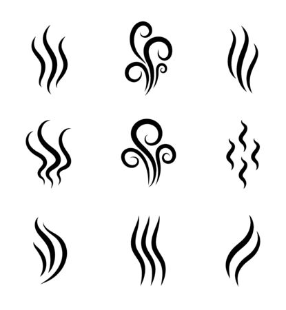 Aromas, smell vaporize icon. Outline symbols smoke, cooking steam odour, fume of flame. Hot aroma odors signs set. Wave of stench isolated. vector abstract illustration Foto de archivo - 134468090
