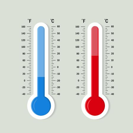 Platte meteorologie thermometers schaal. Warm, koud temperatuurpictogram. Nauwkeurigheid meteorologie Fahrenheit en Celsius schalen. Meetapparatuur voor weerstemperatuur. vector geïsoleerde illustratie