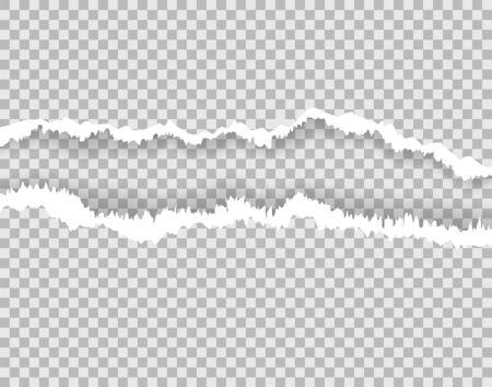 Page de papier déchirée, bords déchirés avec un espace pour le texte. Texture de papier déchiré endommagé sur fond transparent et isolé. Bande rugueuse, artisanat de scrapbooking, papier découpé. Feuille arrachée.