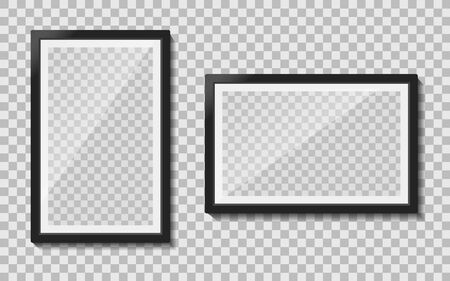 Black templates photo frame with glass reflection hanging on wall. Empty picture album layout. Design photo frame for memo, creative interior. Set realistic mockup picture a4 format. vector isolated Illusztráció