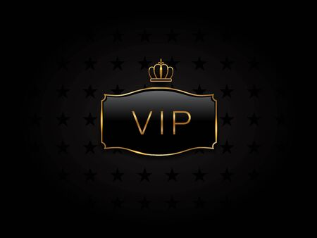Vip black glass label with golden frame and crown. Premium, exclusive, luxury badge on certificate, royal award. Template of luxury membership for rich club. vector elegant illustration Ilustração