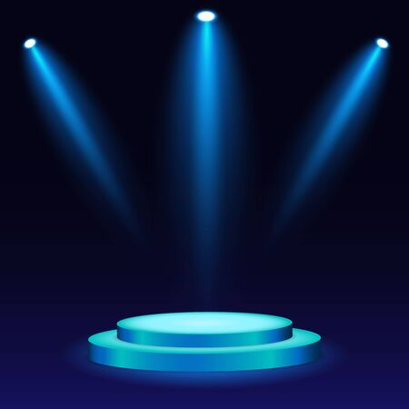 White 3d round podium with light and lamp. Winner stand with spotlights. Empty pedestal platform for award. Podium, stage pedestal or platform illuminated by light on isolated background. vector eps10